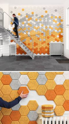 These hexagon sound absorbing panels are made of wood slivers, cement, and water. Träullit Hexagon Panels by Form Us With Love -- seen on: 19 Ideas For Using Hexagons In Interior Design And Architecture // Modern Interior Design, Interior Architecture, Architecture Geometric, Water Architecture, Interior Design Presentation, Contemporary Architecture, Diy Wall Decor, Diy Home Decor, Wall Design
