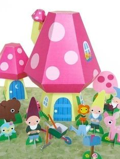 Gnome+Mushroom+Cottage+Playset+Printable+Paper+by+FantasticToys,+$4.00