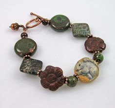 Squirrel art bead (handpainted polymer clay) bracelet with ceramic and mixed gemstone beads and antiqued copper finish acorn charm by PaisleyLizardDesigns, $58.00
