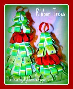 Fireflies and Jellybeans: Ribbon Trees Here are some cute trees that will add some whimsy to your decor!