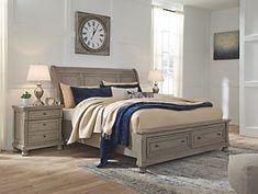 Lettner Light Grey Sleigh Bed with Storage (Queen), Signature Design by Ashley Sleigh Bedroom Set, Sleigh Beds, Bedroom Furniture Sets, Bed Furniture, Wood Bedroom, Kitchen Furniture, Furniture Ideas, Furniture Design, Bedroom Ideas