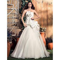 A-line/Princess Strapless da varredura / escova de trem organza e tafetá Vestido de Noiva – BRL R$ 428,69