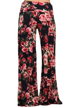 5bfe9b3c2ca Womens Dark Navy Blue   Red Floral Print Fold Over Wasit Wide Leg Palazzo  Pants Legging
