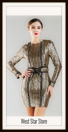 158a3940b1 Gold Chain Sequin Dress with Belt Rope Style  Sexy