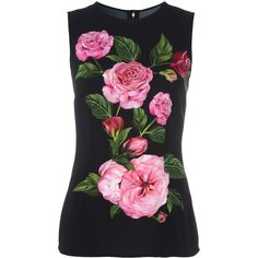 Dolce & Gabbana rose print tank top ($875) ❤ liked on Polyvore featuring tops, black, dolce gabbana top, floral print sleeveless top, floral tank, flower print tops and rayon tops