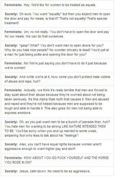 Feminism, in a nutshell. It has nothing to do with your gender, or your race, or with hating men, but with the idea that women should be treated as equal to men.