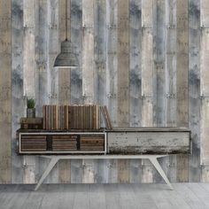 Repurposed wood temporary wallpaper