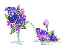 Princesse violet en verre fleur Slipper chaussures 2012 - renforcée avec de la peinture aquarelle et signé