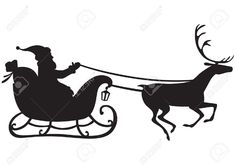 Silhouette of Santa Claus riding a sleigh pulled by reindeer, and carries a sack of gifts Stock Vector