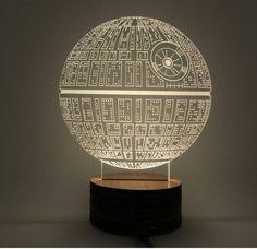 Star Wars Death Star Hologram 3D Light Table Desk LED Lamp Engraving Night Light Home Decor - GeeksMoviesStuff - 3