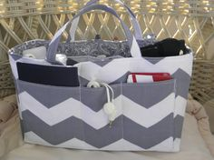 Purse Insert, Bucket Style, Bag Organizer Insert, 18 Pockets, Handles, Key Clasp, Grey Chevron Print, Handbag, Tote, Diaper Bag,Travel Bag by CilesBoutique on Etsy