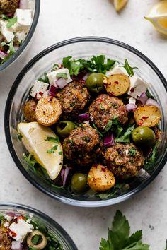 mediterranean lamb meatballs meal prep bowls