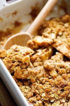 Warm Vanilla Apple Crisp with Salted Caramel Sauce Recipe | Little Spice Jar
