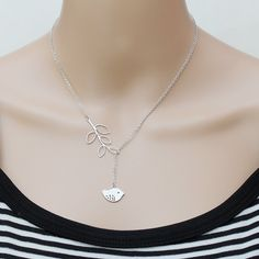 Sterling Silver Chain & Rhodium Plated Charms, Leaf Connector, Necklace. $22.00, via Etsy.