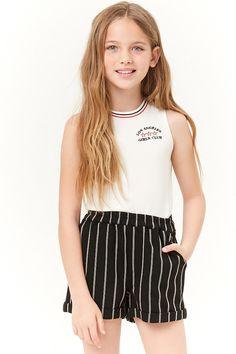 Product Name:Girls Striped Knit Shorts (Kids), Category:girls_main, Preteen Girls Fashion, Girls Fashion Clothes, Kids Outfits Girls, Cute Girl Outfits, Cute Summer Outfits, New Outfits, Kids Fashion, Fashion Outfits, Tween Clothing