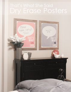 Master Bedroom Dry Erase Posters - This is a really great idea... just my humble opinion! Check it out! ♥ :)