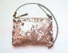 B U F F Pink Sequin Shoulder Bag. ROSE GOLD Metallic Clutch. Neutral Wedding Purse.  I know it's a wedding purse, but I think it's so pretty! I love it!
