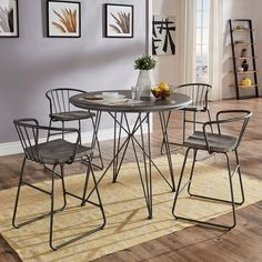Shop for Mabel Round Iron and Grey Finish Counter Height Table or Dining Set by iNSPIRE Q Artisan. Get free delivery at Overstock - Your Online Furniture Shop! Get in rewards with Club O! Round Dining Set, 5 Piece Dining Set, Table And Chairs, Dining Table, Wood Table, Black Dining Room Furniture, Pedestal Table Base, Counter Height Table, Drop Leaf Table