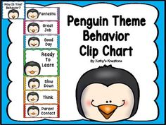 """Behavior clip chart: behavior clip chart with a penguin emoticon theme. All posters have a different penguin emoticon face and coordinate with other penguin classroom theme items in my store. You will need to write students names on clothes pins. All students' clothespins start on """"Ready to Learn"""" and move up or down on the chart based on their choices.All posters are half page except title and ready to learn."""