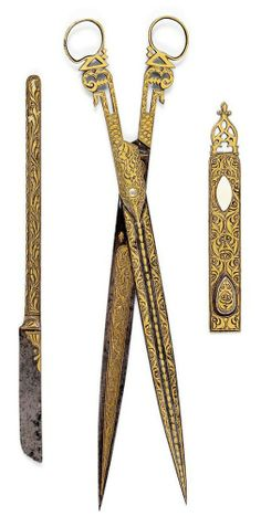 Ottoman Turkey, set of calligraphers tools, c Vintage Tools, Vintage Sewing, Vintage Scissors, Calligraphy Tools, Historical Artifacts, Ottoman Empire, Sewing Tools, Islamic Art, Art And Architecture