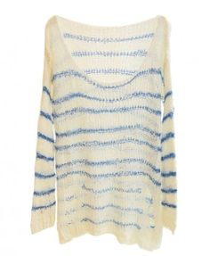 Round Neckline Hole Pullovers with Stripes Print