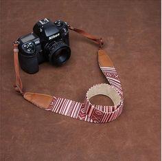 Stripe Nikon Canon Stripe  Handmade Leather Camera Strap-7218/7219