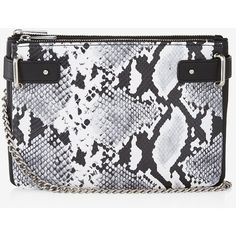 Express 2-In-1 Snake Cross Body Bag ($45) ❤ liked on Polyvore featuring bags, handbags, shoulder bags, snakeskin, shoulder strap bags, express purses, crossbody shoulder bag, chain strap handbags and cross-body handbag