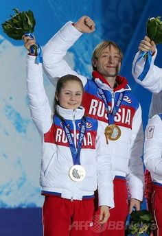 フィギュアスケート団体戦のメダル授与式、ソチ五輪