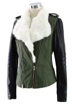 To match my black leather jacket --Faux fur Motorcycle  Jacket with Contrast Sleeve