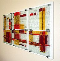 fused glass wall piece. I like the way it's mounted.