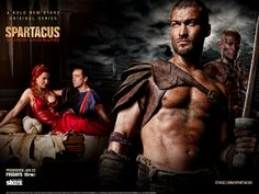 #LucyLawless as #Lucretia, #JohnHannah as #Batiatus, #AndyWhitfield as #Spartacus and #PeterMensah as #Doctore - #Spartacus: #BloodandSand