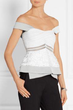 Jonathan Simkhai   Fringed mesh and stretch-knit top   NET-A-PORTER.COM