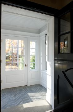 Herringbone tile, black Dutch door Would love this in a mud room. Herringbone Tile Floors, Slate Flooring, Tiled Floors, Herringbone Pattern, Brick Tile Floor, Slate Tiles, Farmhouse Flooring, Entry Tile, Entry Foyer