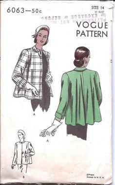1940s Womens Short Flared Coat - Vogue 6063 Vintage Pattern -