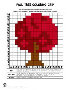 Fall Grid Coloring Pages Mystery Picture Activities | Woo! Jr. Kids Activities : Children's Publishing Love Knitting Patterns, Cross Stitch Patterns, Autumn Trees, Autumn Art, Safety Pin Crafts, Pixel Art Grid, Crochet Wall Hangings, Minecraft Pixel Art, Charts And Graphs