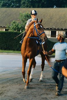 Secretariat and his jockey Ron Turcotte seem to be each in his separate way-lost in thought as odds-on favorite get set for final workout prior to running of the Belmont Stakes on June 9th. If Secretariat wins the 105th Belmont Stakes, he will be the first Triple Crown winner since 1948.