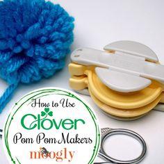 Clover Pom Pom Maker Tutorial Making pom poms is easy with the Clover Pom Pom M. Clover Pom Pom Maker Tutorial Making pom poms is easy with the Clover Pom Pom Maker! Learn how to Beginner Crochet Tutorial, Crochet Patterns For Beginners, Easy Crochet Patterns, Crochet Tutorials, Video Tutorials, Hat Patterns, Crochet Basics, Crochet Stitches, Craft Stick Crafts