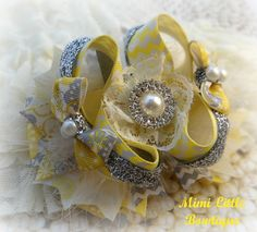 Vintage Gray and Yellow Boutique Bow With Bling