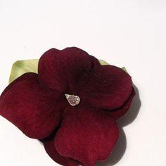 Dark Red Hydrangea Flower Hair Clip
