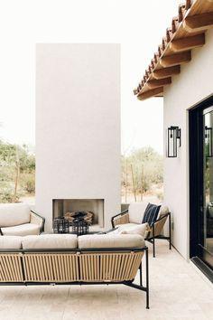 Outdoor Spaces, Outdoor Living, Outdoor Decor, Indoor Outdoor, Architecture Restaurant, Fireplace Set, Fireplace Outdoor, Sweet Home, Elle Decor