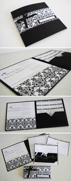 This is really awesome.  An invitation with pockets, one for each important issue.
