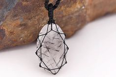 Pin to save the next gift for yourself!      Macrame wrapped crystal, Black Rutile Quartz pendant, Rutilated Quartz necklace, Tourmalated quartz jewelry, Black Rutile jewelry for mens    Beautiful handmade Macrame Tourmalated quartz pendant necklace with an adjustable black necklace cord.       This creation is a one of a kind Unisex piece that can fit any occasion.     (..*♥FREE INTERNATIONAL SHIPPING♥*¨)