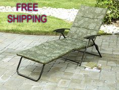 Chaise Lounger Folding Padded Sling Green Outdoor Lounge Chair Patio Pool Deck Jaclynsmith