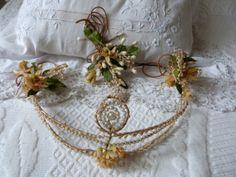Antique French bee wax flower pearl tiara crown headband wax tiara wreath w corsage bride wedding, 1800s Victorian bridal accessory