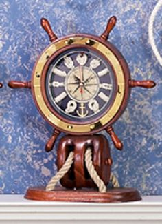Ships Wheels Nautical Mantle Clock