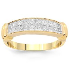 This finely detailed womens diamond wedding band features brilliant small princess cut diamonds which weigh a total of 1.51 carats. The band is crafted in lustrous 14K Yellow Gold and weighs approximately 4.6 grams. Measuring to 3/16 Inches in width, this lovely womens diamond wedding band is an ideal gift for that special occasion. $1,345.00