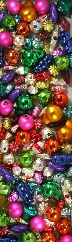 Hundreds of styles of mercury glass beads for Christmas garland and ornaments, hand made in the Czech republic