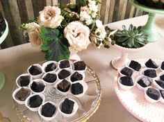 vintage modern dessert table, vintage cake stands by Nimble Well, brownies by Uptown Brownie, flowers by Pollen.      #vintagerentals