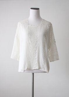 Antique Edwardian White Crochet Lace Blouse Shirtwaist 107