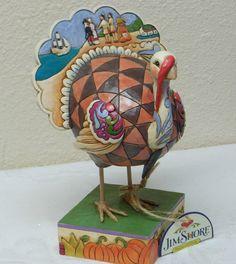 "Jim Shore ""Time to Gobble"" Turkey Figurine 4027802 Fall Décor 